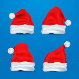 Realistic santa claus hat collection