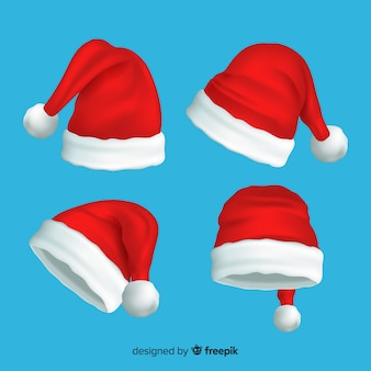 Realistic santa claus hat collectionrealistic santa claus hat collection