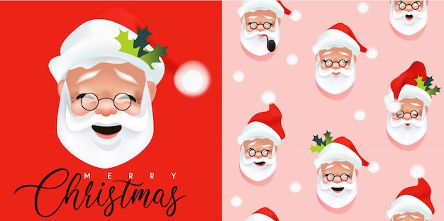 Realistic santa claus illustration and seamless pattern