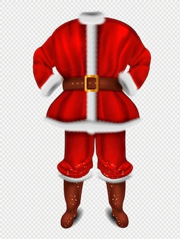 Realistic santa claus red costume for christmas illustration
