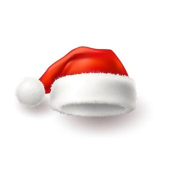リアルなサンタ帽子のお祝いの装飾イラスト