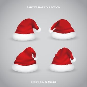 Realistic santa hat collection