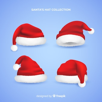 Realistic santa hat collection