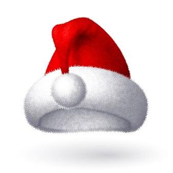 白い背景で隔離の現実的なサンタ帽子