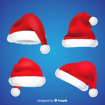 Realistic santa's hat collection