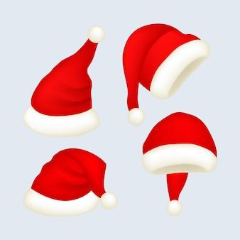Realistic santa's hat set