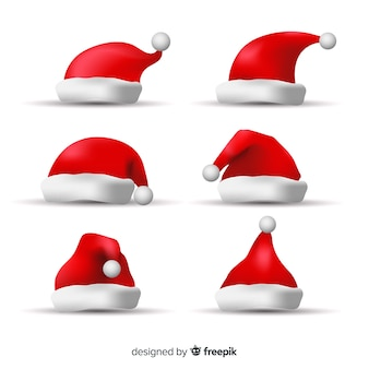 Realistic santa's hats collection
