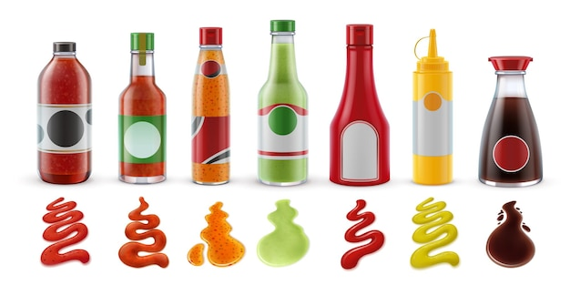 Реалистичные соусы в бутылках. острый перец чили, томатный кетчуп, гуакамоле, горчица и соевый соус в стеклянной упаковке и набор векторных всплеск приправ