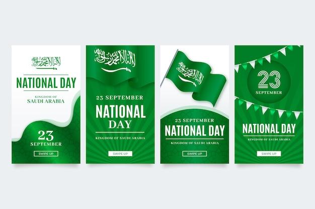 Realistica raccolta di storie su instagram per la festa nazionale saudita