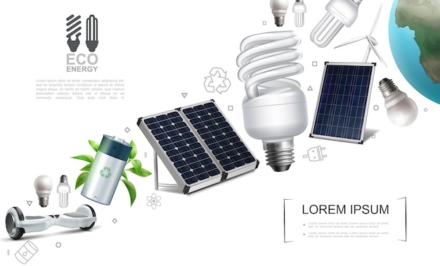 Realistic save energy elements composition with gyroscope battery electric lightbulbs solar panels windmill