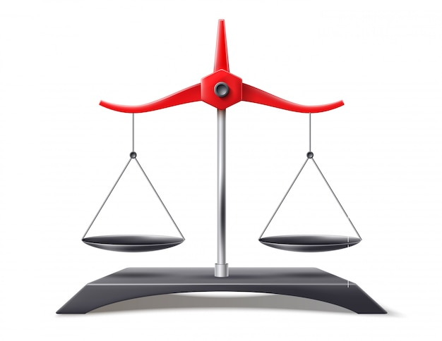 Realistic scales of justice,  balance symbol