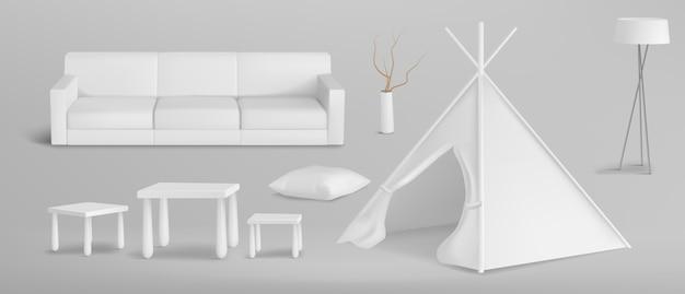 현실적인 스칸디나비아 소년의 방 가구