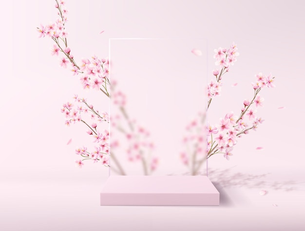 A realistic scene with a pedestal in pastel pink colors. square platform with frosted glass and flowers in the background for product demonstration.