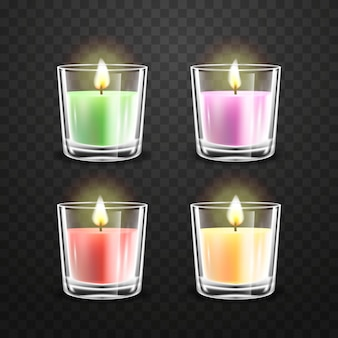 Realistic scented candle collection