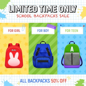 Realistic school backpack banner template