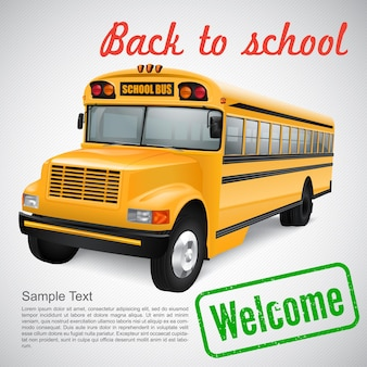 Realistic school bus on striped background