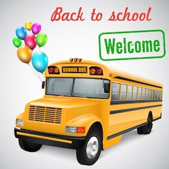 Реалистичный школьный автобус с разноцветными воздушными шарами на полосатом фоне