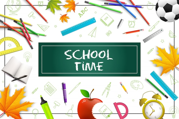 Realistic school colorful composition with pencils pens rulers protractor bitten apple maple leaves alarm clock markers soccer ball in frame