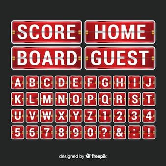 Realistic scoreboard alphabet