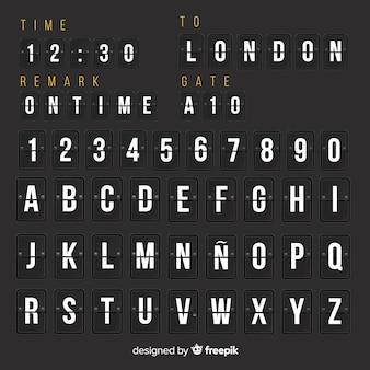 Alfabeto di stile realistico tabellone segnapunti