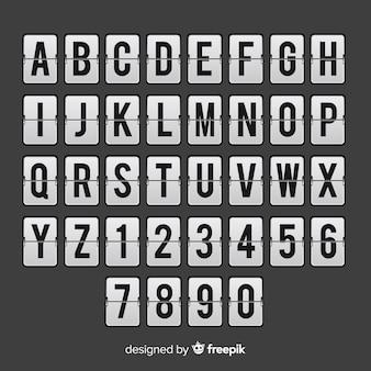 Realistic scoreboard style alphabet
