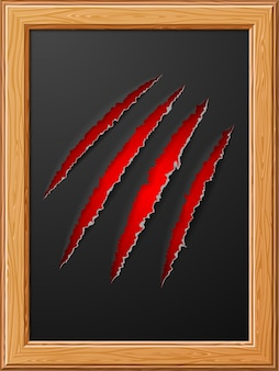 Realistic scratch claws of animal in wooden frame