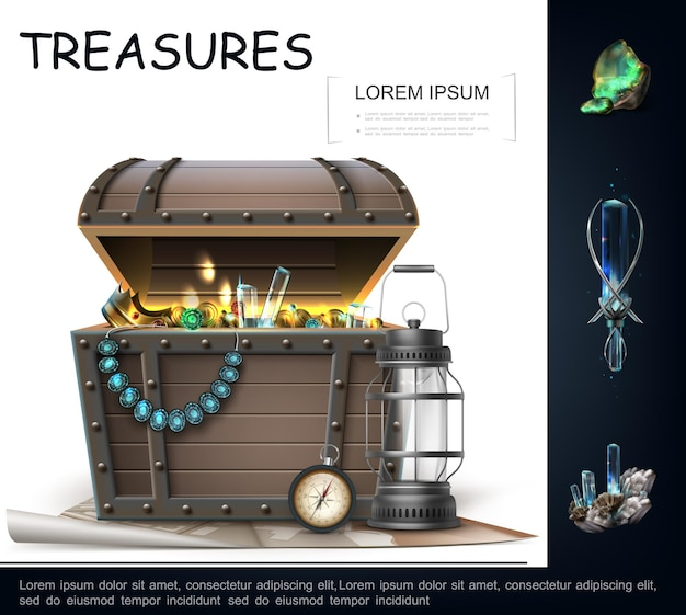 Realistic sea treasures concept with lantern navigational compass chest full of gold coins pearl necklace jewelry with sapphire untreated emerald and aquamarine  illustration