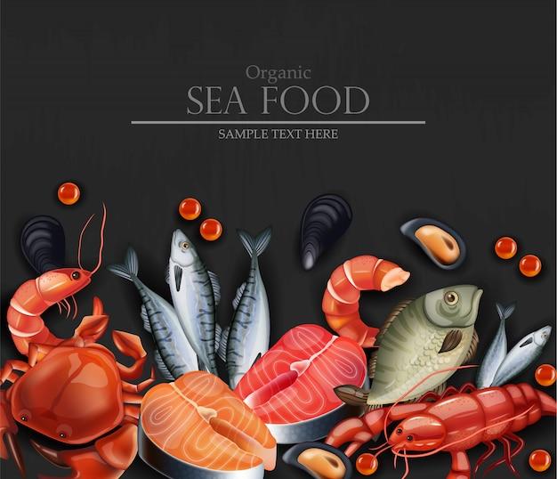 Realistic seafood card