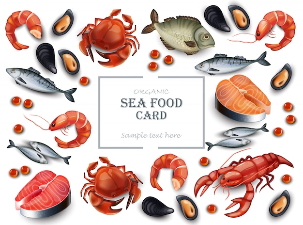 Realistic seafood crab and mussels pattern background