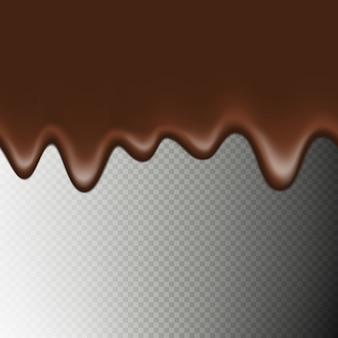 透明な背景に分離された現実的なシームレスな水平方向の境界線のホットチョコレート。溶けて流れるチョコレートのしずく。
