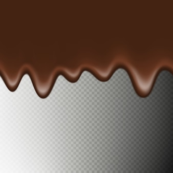 Realistic seamless horizontal border hot chocolate isolated on transparent background. melted flowing chocolate drips.