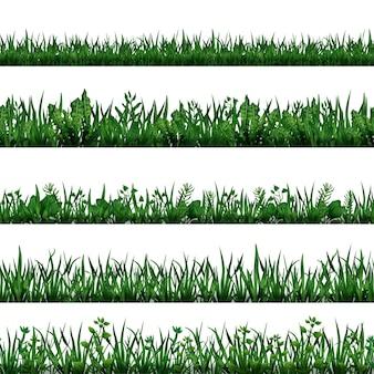 녹색 잔디와 잎으로 설정된 현실적인 원활한 수평 테두리