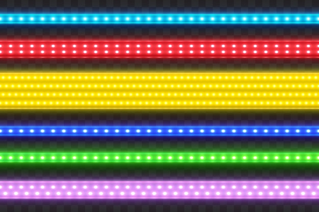 Realistic seamless led colorful strip set