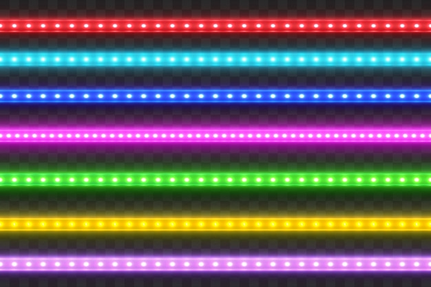 Realistic seamless led colorful  strip  set.