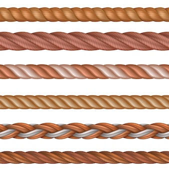 Realistic seamless pattern rope and nautical cables vector set isolated