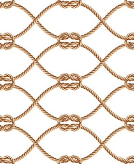 Realistic seamless pattern with brown twisted ropes and loops.