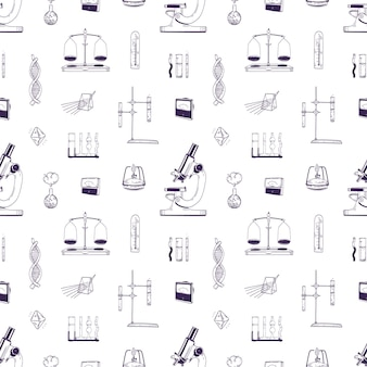 Realistic seamless pattern with chemistry and physics laboratory equipment hand drawn with lines on white background. backdrop with measuring tools for scientific research. vector illustration.