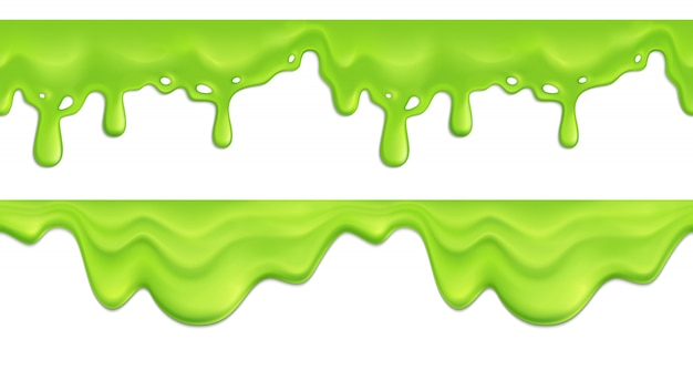 Realistic seamless pattern with green melting slime drips illustration