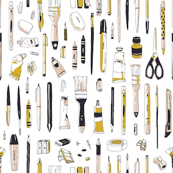 Realistic seamless pattern with stationery, writing utensils, drawing tools or art supplies hand drawn on white