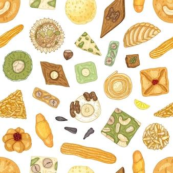 전통적인 동양 과자 또는 흰색에 맛있는 과자와 현실적인 원활한 패턴