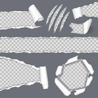 Реалистичные бесшовные рваные бумаги и царапины когти животного.