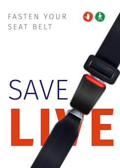 Realistic seat belt social ad poster of safe trip  with road signs illustration