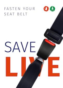 Manifesto sociale dell'annuncio realistico della cintura di sicurezza del viaggio sicuro con l'illustrazione dei segnali stradali