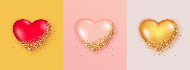 Realistic set of 3d heart shape isolated with glitter and sparkling lights.