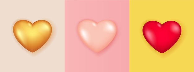 Realistic set of 3d heart shape isolated.