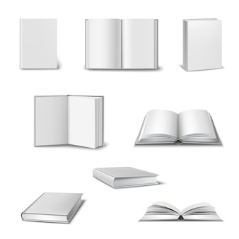 Realistic set of 3d open and closed books
