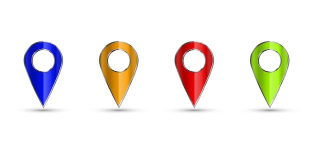 マップの現実的なセット3 dポインター。黒地図マーカー