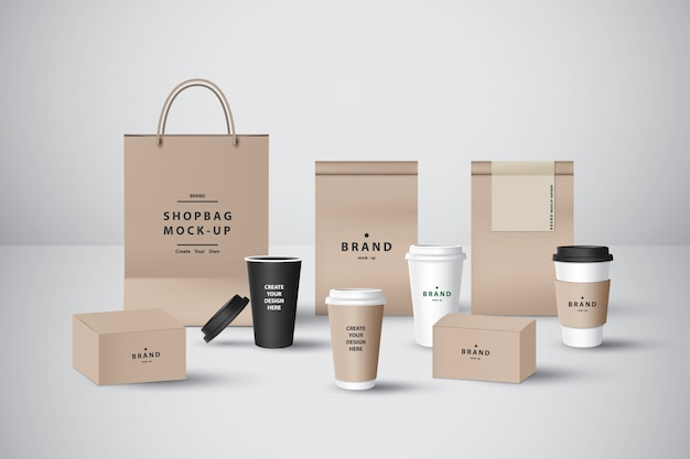 Realistic set for bakery shop or coffee shop, take away cup,food box,paper bag,pastry bag and napkin  for branding.