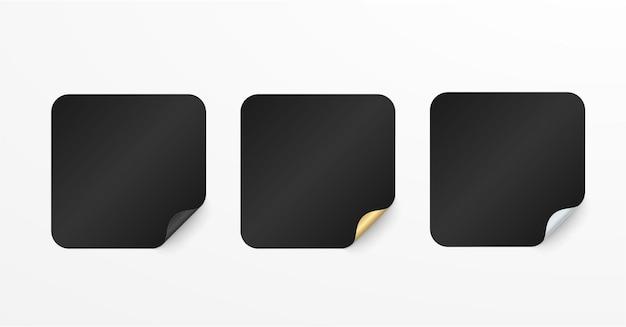 현실적인 세트 검정색과 금색 스티커 또는 패치 mockup 다른 모양의 빈 레이블 사각형 및 인감 원 3d