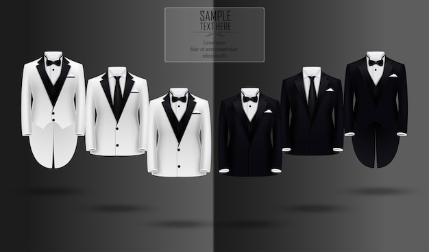 Realistic set of black and white suits and tuxedo